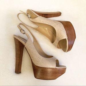 Giuseppe Zanotti Wood Platform Leather Heels 37